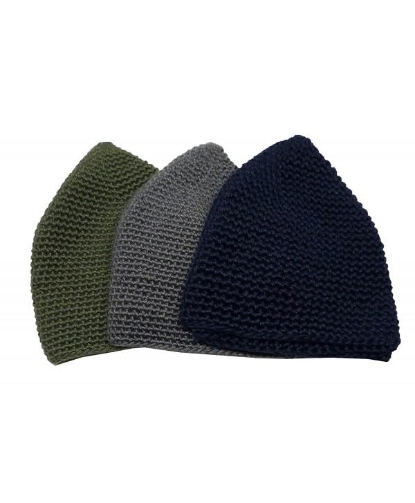 3x Muslim Knit Cap Amn025 Islamic Kufi Prayer Hat Crochet Taqiyah Takke Skull Topi - CA186RD798U