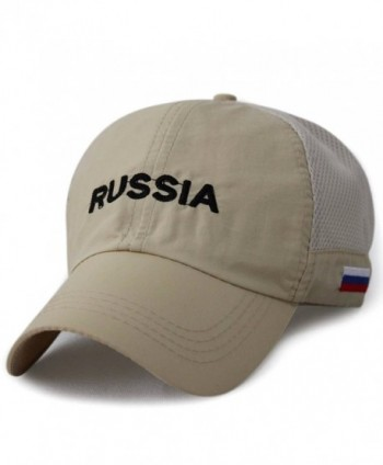 LOCOMO Russia Flag Embroidered Patriot Mesh Side Baseball Cap FFH253BLK - Khaki - CV11UB9WLF9