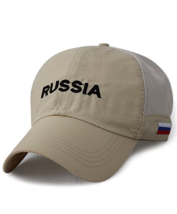 LOCOMO Russia Flag Embroidered Patriot Mesh Side Baseball Cap FFH253BLK - Khaki - CV11UB9WLF9