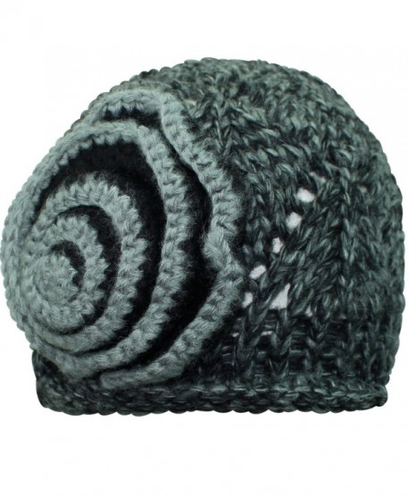 Luxury Divas Beautiful Crochet Knit Beanie Cap Hat - Black - CY11FU6JJZ3