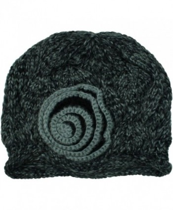 Black Beautiful Crochet Knit Beanie in Women's Skullies & Beanies