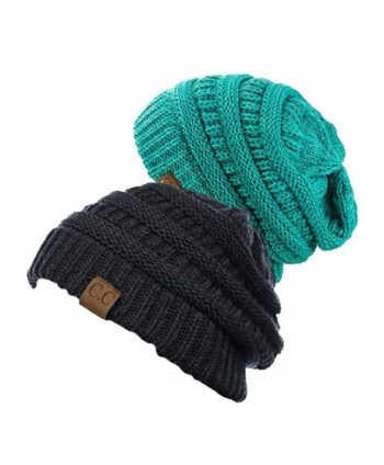 NYFASHION101 Unisex Multicolor Warm Cable Knit Thick Beanie Cap - CM12O2NHQIM