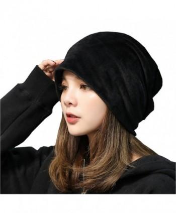 Women's Velvet Beanies Winter Korean Fashion Hats - Black - CG186Q8XHUN