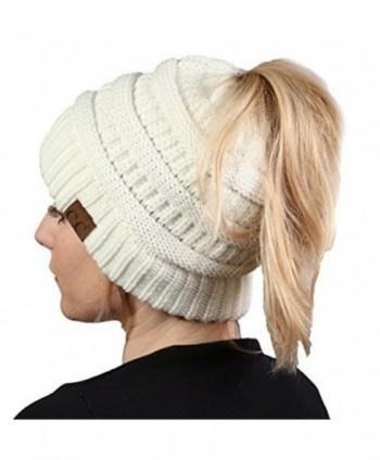Aiyo Nice BeanieTail Womens Ponytail Messy Bun Beanie Solid Soft Knit Hat Cap - White - C5189I9DD9U