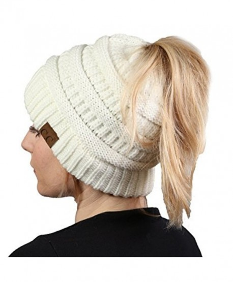 Aiyo Nice BeanieTail Womens Ponytail Messy Bun Beanie Solid Soft Knit Hat  Cap - White - 9c3b049769db