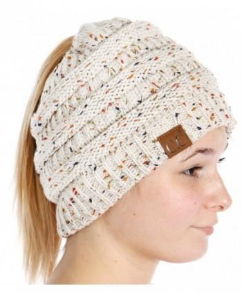 SERENITA C.C Unisex Classic Beanie Tail Ponytail Cap Hat - Confetti Oatmeal - CG189XIKW02