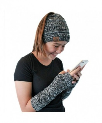 Aloha Wear Messy Bun Ponytail Beanie and Arm Warmer Fingerless Gloves - Black- White- & Grey - CN188XTWRCA
