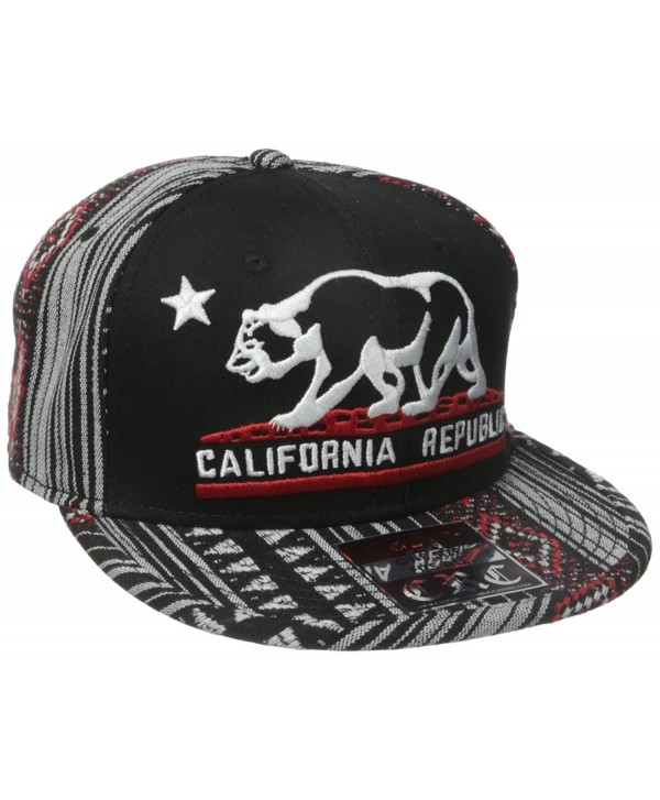 Dolphin Shirt Co California Republic Embroidered Bear Flag Flat Bill Snapback Hat - Aztec Tribal Pattern - CD126OL3UST