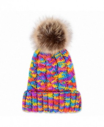 JcxHat Women Rainbow Fold Crochet Chunky Slouchy Thick Winter Knit Hat Beanie Skully with Pom Pom - CU12O7K64IM