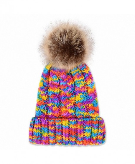 0d14c081eb1 JcxHat Women Rainbow Fold Crochet Chunky Slouchy Thick Winter Knit Hat  Beanie Skully with Pom Pom