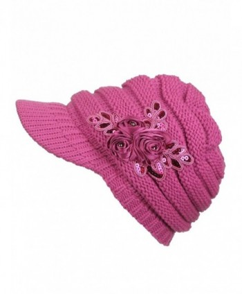 Women's Knit Newsboy Hat with Satin Flower - Fuchsia - C6120240OAF