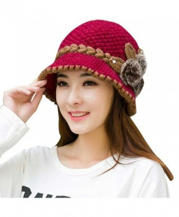 DORIC Women Winter Warm Crochet Ladies Knitted Flowers Decorated Ears Hat - Hot Pink - CA186M0QON7