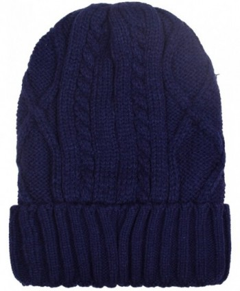 Cuff Beanies For Men Women Fleece Lined Skull Beanie Hat Ski Hats Winter Knit Cap - Navy - CQ1884LM7CU