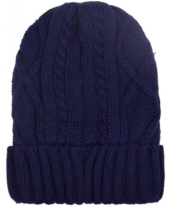 Cuff Beanies For Men Women Fleece Lined Skull Beanie Hat Ski Hats Winter Knit Cap - Navy - CQ1884LM7CU