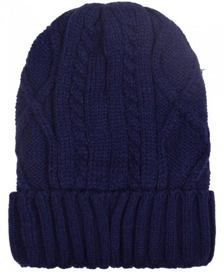 d0ad9e91b Cuff Beanies For Men Women Fleece Lined Skull Beanie Hat Ski Hats Winter  Knit Cap - Navy - CQ1884LM7CU