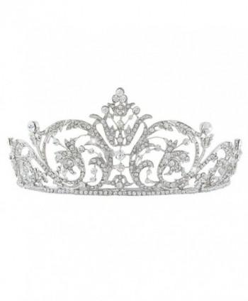 EVER FAITH Women's Austrian Crystal Wedding Bridal Art Deco Flower Headband Tiara Clear Silver-Tone - CB11P2KYNT9