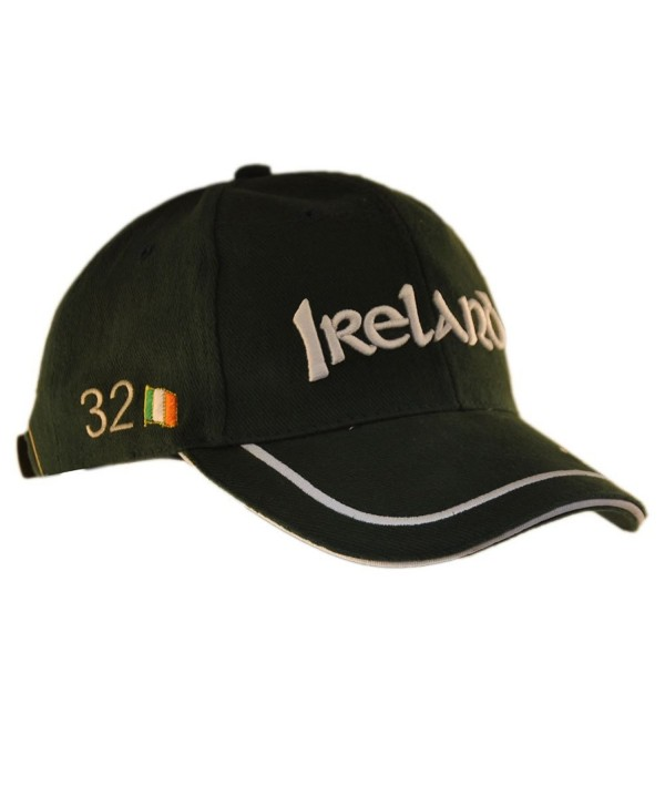 Carrolls Irish Gifts Baseball Cap With Ireland 32 Lettering and White Piping Detail- Green Colour - CG11ZF0TNBT