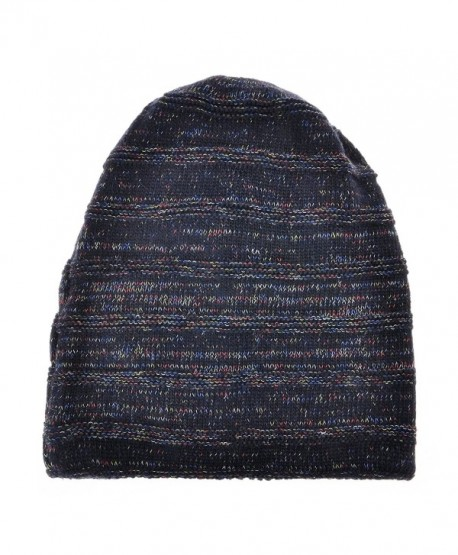 ZLYC Unisex Trendy Double Layers Reversible Warm Oversized Cable Knit Slouchy Beanie - Navy Blue - CB186XNT5T9