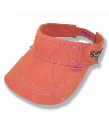 Hothead Large Brim Sun Visor Hat - Biowash in Orange - CB11KF41W3H a80e963e2aa9