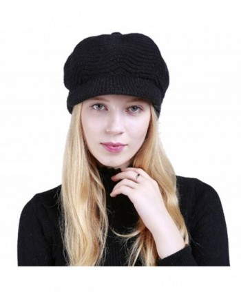 Winter Warm Hat For Women Fashion Knitted Hat Acrylic Fibers Snow Ski Caps With Visor - Black - C0187R7NMXQ