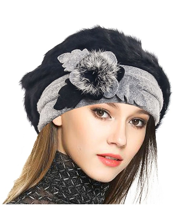 VECRY Lady French Beret 100% Wool Beret Floral Dress Beanie Winter Hat - Angola-black - C712OB9J69O