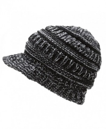 MIRMARU Women's Winter Ribbed Layer knitted Brim Visor Beanie Hat. - Black - CW186ST06DO