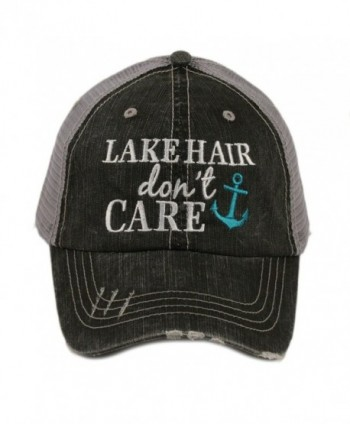 Katydid Lake Hair Don't Care Women's Distressed Grey Trucker Hat - Teal Anchor - CB12IWI54YP