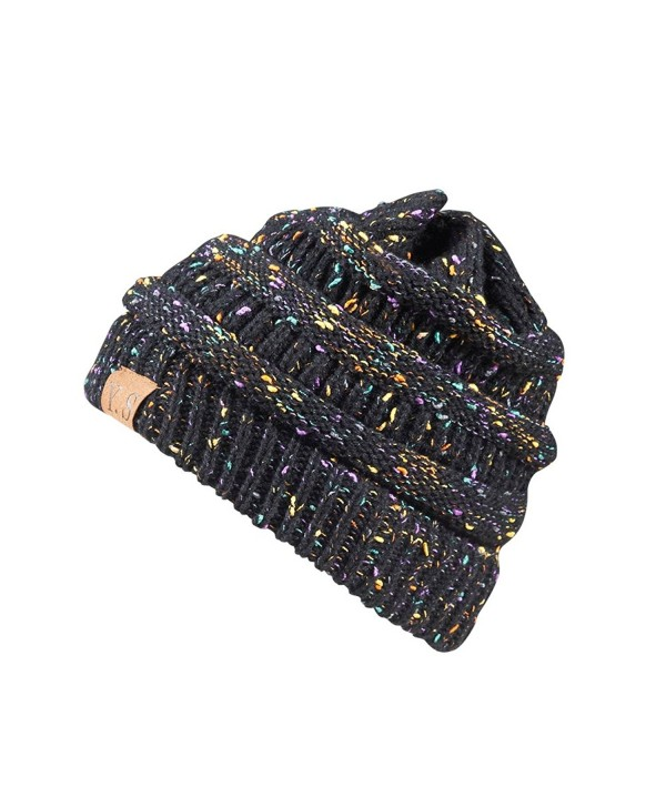 Trendy Slouchy Beanie Hat Unisex Soft Warm Oversized Chunky Cable Knit Thick Cap - A Confetti Black Design - CL186W9M04K