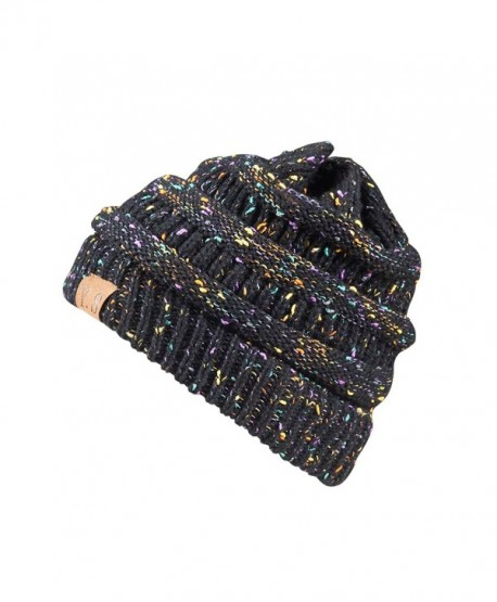 8f78b3fe2d0 Trendy Slouchy Beanie Hat Unisex Soft Warm Oversized Chunky Cable Knit  Thick Cap - A Confetti Black ...