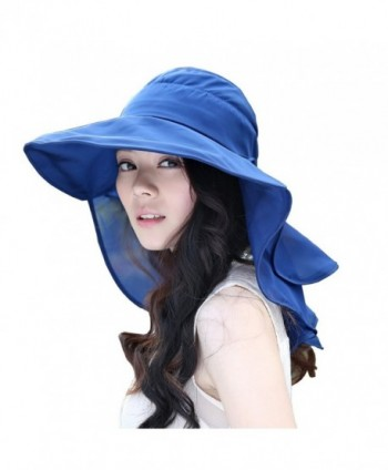 Flyou Sun Hats Foldable Beach Cap for Women UPF50+ Wide Brim UV Protection Beach Hat Neck Face Flap Cap - Navy - CJ1832RTM4K