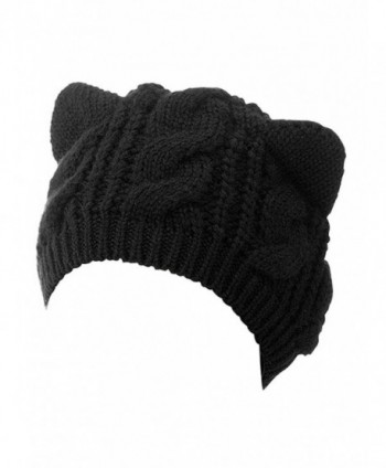 Choies Women's Acrylic Cat Ears Knit Black Beanie Hat - Black - CH11S3OQI71