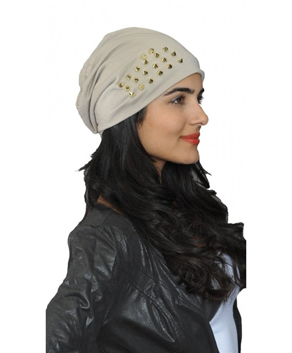 ShopAA Gold Spike Studded Beanie Skull Hat - Taupe - CT185TCR8MU
