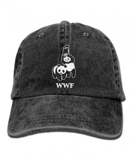 WWF Panda Bear Wrestling Unisex Cotton Denim Adjustable Cowboy Cap - Black - C6187HX9DRK