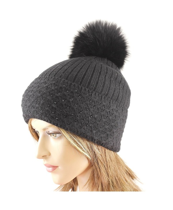 LA-EL COUTURE Women's Wool&Angora Rhinestones Fur Pom-Removable Warm Beanies - Black - C512BDDDDO9