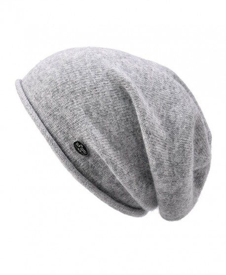 c5ff3056f Womens Beanie Wool Winter Hat Knit Beanies Cap Fall Winter Slouchy Hat -  Light Grey - C117AZ7D9L7