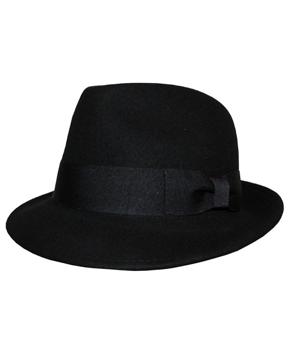 Differenttouch Men's 100% Wool Felt Soft & Crushable Stingy Brim Trilby Fedora Hats HE02 - Black - CU11OQDX9LV