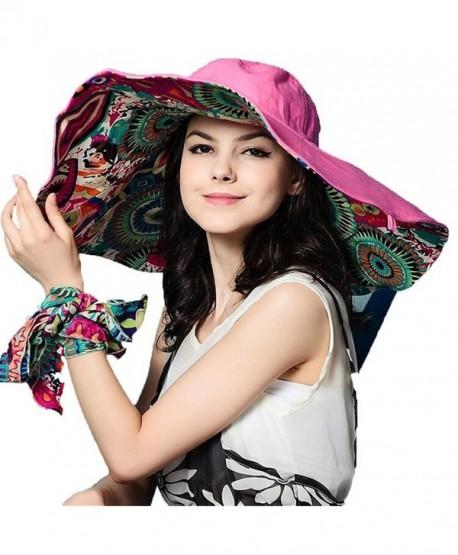 81b5199e Eleter Women's Large Wide Brim Floppy Visor Summer Foldable Beach Sun Hat  (FBA) -