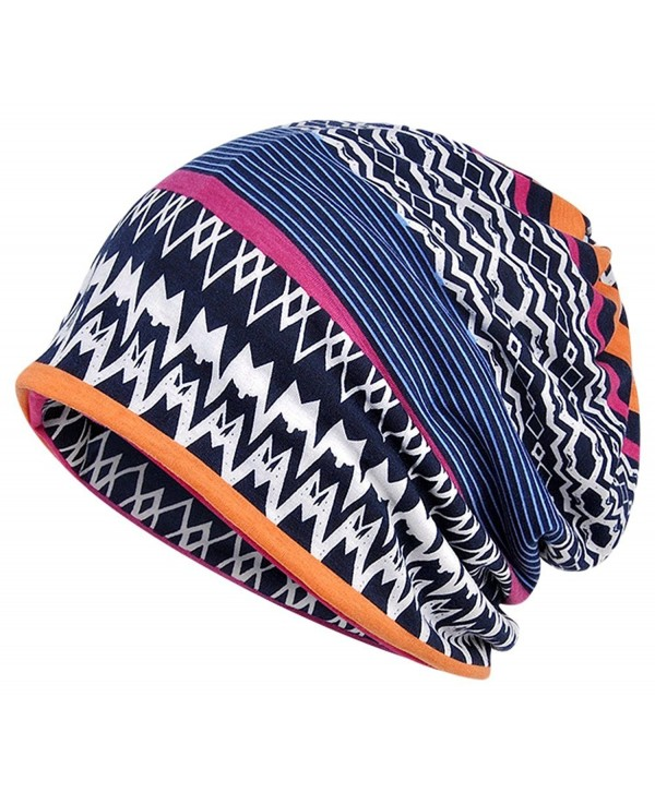 Qiabao Women's Soft Comfy Printed Slouch Beanie Cap Hat - Multicoloured B - CW182XQCYR7