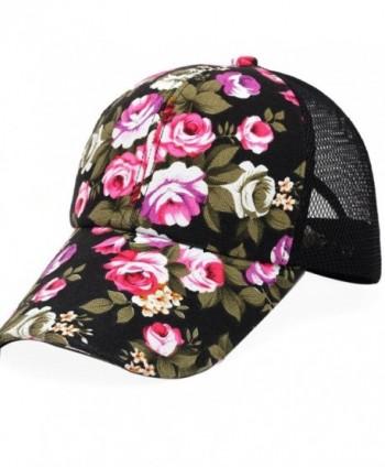 Voberry Womens Cotton Floral Baseball Cap Summer Meshy Snapback Cap Hat -  Black - CJ12H5UZRJD a9f3f62847db