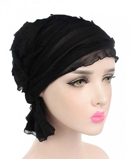 862e680ea59 EachWell Women Pleated Ruffle Stretch Turban Hat Hair Wrap Cover Up Sun Cap  - Black -