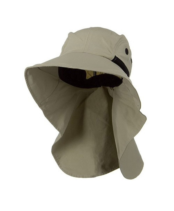 Juniper Men's Khaki Wide Brim Outdoor Sun Flap Hat - CB11W4SMSB7
