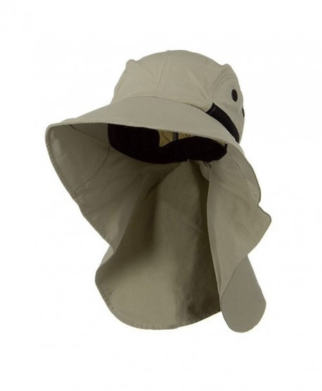Juniper Men s Khaki Wide Brim Outdoor Sun Flap Hat - CB11W4SMSB7 32e3b3a89658