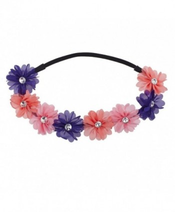 Lux Accessories Pink Peach Purple Crystal Floral Elastic Headwrap Headband - Pink Peach - CS12NDWCOY4