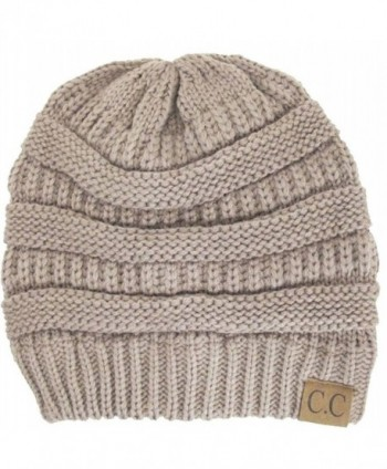 Thick Slouchy Knit Oversized Beanie Cap Hat-One Size-Taupe - CE11P2151N5