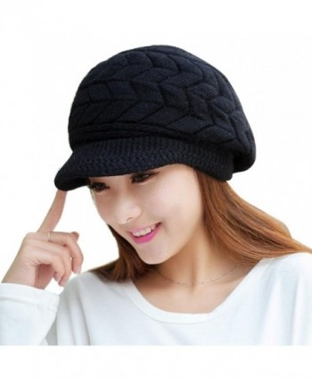 SMYTShop Winter Hats for Women Outdoor Warm Knit Snow Ski Crochet Knitted Hats Skull Cap with Visor - Black - CV187G3LKT7
