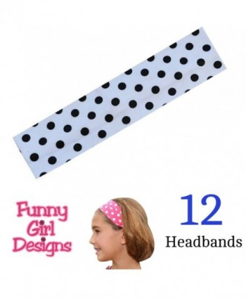1 DOZEN Polka Dot Cotton Stretch 2 Inch Wide Headbands - Great For Embroidery! - White Dot - C511G7YPSJD