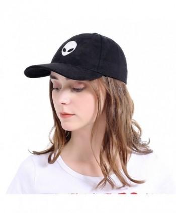 LeucosTicte Aliens Outstar Saucer Space E.T UFO Light pink Faux suede Baseball Cap Hat - Black - CM182LOXX5R