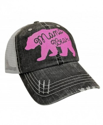 Loaded Lids Women's Mama Bear Distressed Bling Baseball Cap - Grey/Pink - CT17AZ56OXC