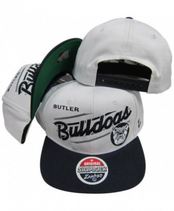 Butler Bulldogs White/Navy Adjustable Snapback Hat / Cap - C3116QJGD0R