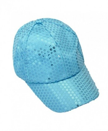 Hatop Sequin Adjustable Super Cool Sport Outdoor Cloth Baseball Cap (Light Blue) - CL12DAFPNXL